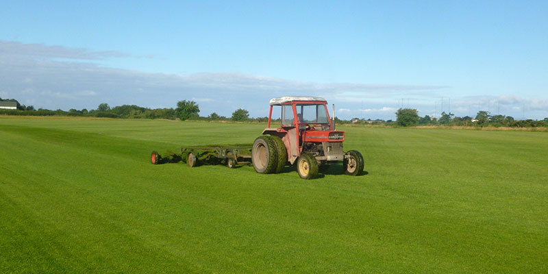 Modern solway turf being cut